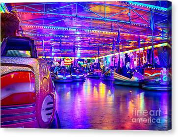 Bumper Cars At The Octoberfest In Munich Canvas Print by Sabine Jacobs