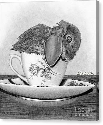 Bunny In A Tea Cup Canvas Print by Sarah Batalka