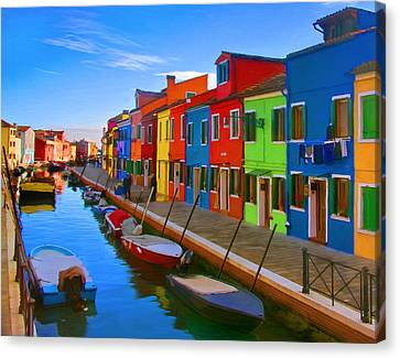 Burano Island In The Venetian Lagoon Canvas Print by Michael Pickett