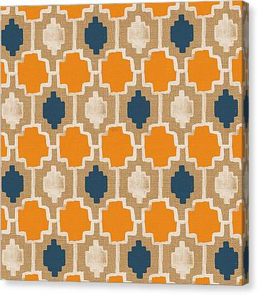 Burlap Blue And Orange Design Canvas Print by Linda Woods
