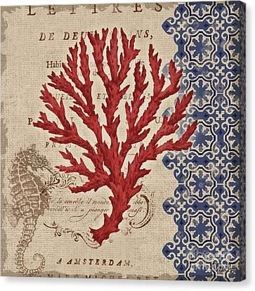 Burlap Coral Iv Canvas Print by Paul Brent