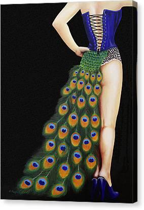 Burlesque Blue Canvas Print by Karen  Loughridge