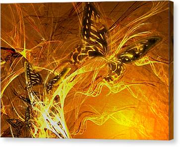 Burning Butterflies Canvas Print by Ela Zakrzewska