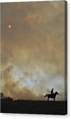Burning Kansas Canvas Print by Crystal Socha