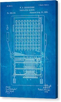 Burroughs Calculating Machine Patent Art 1888 Blueprint Canvas Print by Ian Monk