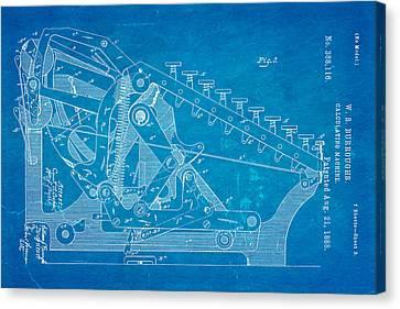 Burroughs Calculating Machine Patent Art 2 1888 Blueprint Canvas Print by Ian Monk