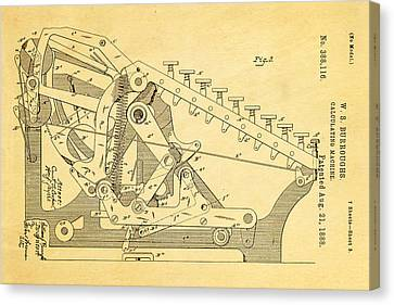 Burroughs Calculating Machine Patent Art 2 1888 Canvas Print by Ian Monk