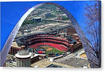 Busch Stadium A View From The Arch Merged Image Canvas Print by Thomas Woolworth