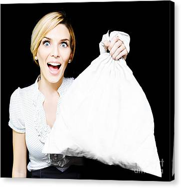 Business Woman Bagging A Bargain With Copyspace Canvas Print by Jorgo Photography - Wall Art Gallery