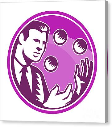 Businessman Juggler Juggling Balls Retro Canvas Print by Aloysius Patrimonio
