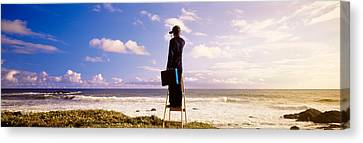 Businessman Standing On A Ladder And Canvas Print by Panoramic Images