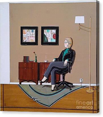 Businesswoman Sitting In Chair Canvas Print by John Lyes