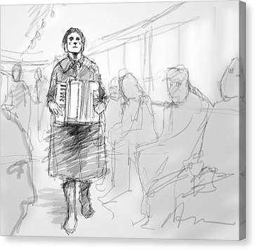 Busker On The Tram Canvas Print by H James Hoff