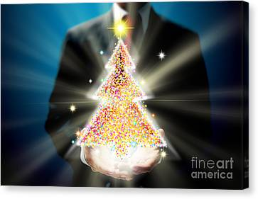 Bussinessman With Christmas Canvas Print by Atiketta Sangasaeng