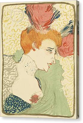Bust Of Mlle. Marcelle Lender Canvas Print by Toulouse-Lautrec