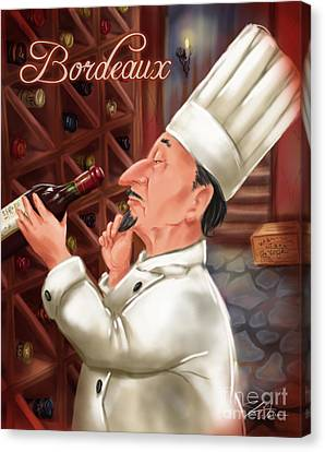 Busy Chef With Bordeaux Canvas Print by Shari Warren