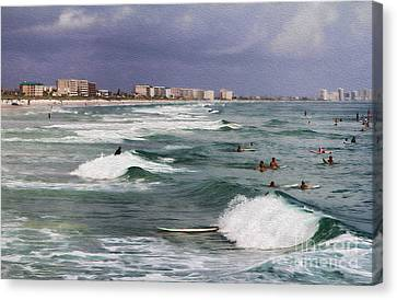 Busy Day In The Surf Canvas Print by Deborah Benoit
