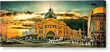 Busy Flinders St Station Canvas Print by Az Jackson