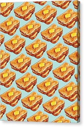 Buttered Toast Pattern Canvas Print by Kelly Gilleran