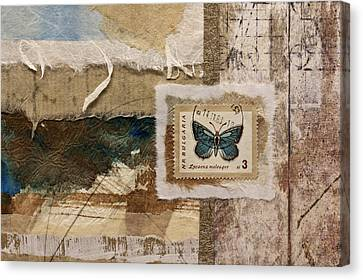 Butterfly And Blue Collage Canvas Print by Carol Leigh