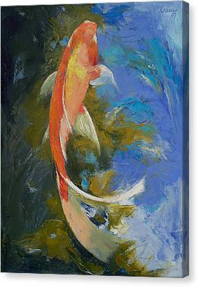 Butterfly Koi Painting Canvas Print by Michael Creese