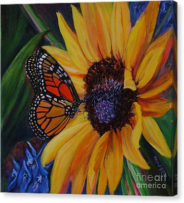 Butterfly On Sunflower Canvas Print by Diane Speirs