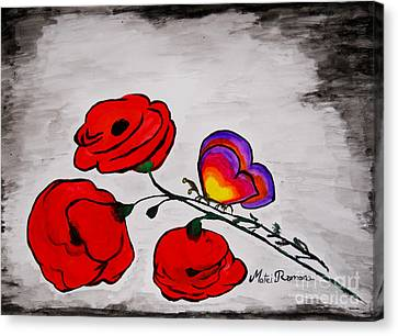 Butterfly Poppies Canvas Print by Ramona Matei