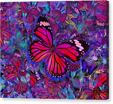 Butterfly Red Explosion Canvas Print by Alixandra Mullins