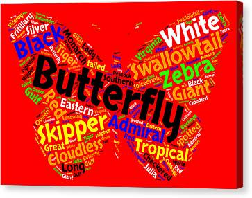 Butterfly Word Cloud Canvas Print by Bruce Nutting