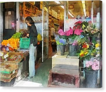 Buying Fresh Fruit Canvas Print by Susan Savad