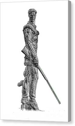 Bw Of Mountaineer Statue Canvas Print by Dan Friend