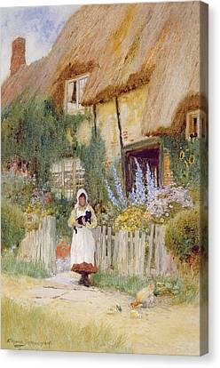 By The Cottage Gate  Canvas Print by Arthur Claude Strachan