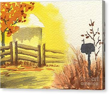 By The Roadside In Autumn Canvas Print by Beverly Claire Kaiya