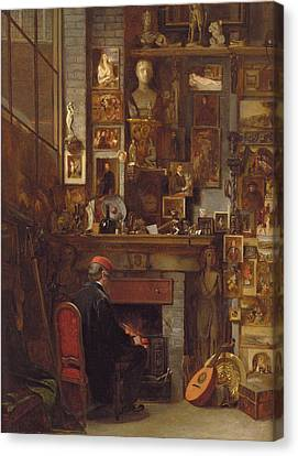 By The Studio Fire, 1860 Canvas Print by John Dawson Watson