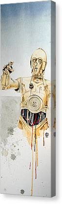 Star Canvas Print featuring the painting C3po by David Kraig