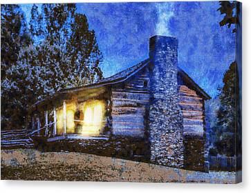 Cabin In The Mountains Canvas Print by Barry Jones