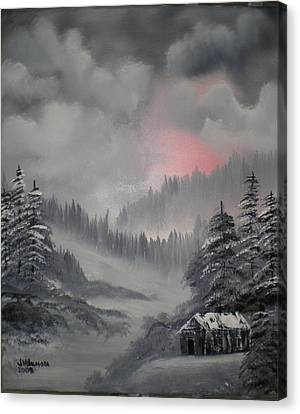 Cabin In The Winter Forset Canvas Print by James Waligora