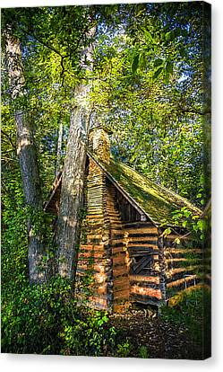 Cabin In The Woods Canvas Print by Debra and Dave Vanderlaan