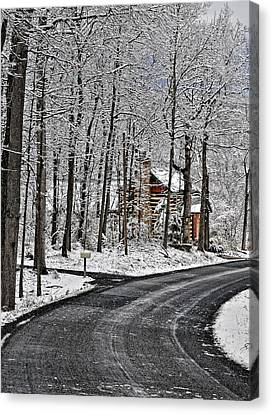 Cabin In The Woods Canvas Print by Lara Ellis