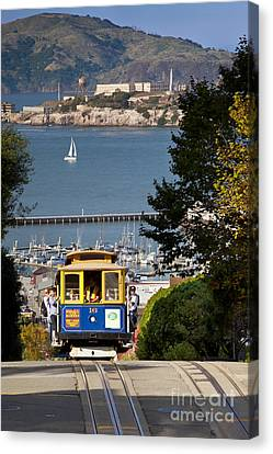Cable Car In San Francisco Canvas Print by Brian Jannsen
