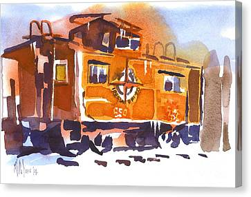 Caboose In Snow And Ice Canvas Print by Kip DeVore