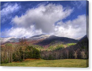 Cades Cove First Dusting Of Snow Canvas Print by Debra and Dave Vanderlaan
