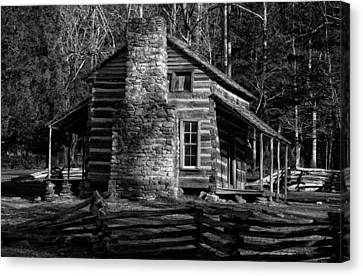Cades Cove Oliver's Cabin In Black And White Canvas Print by Greg and Chrystal Mimbs