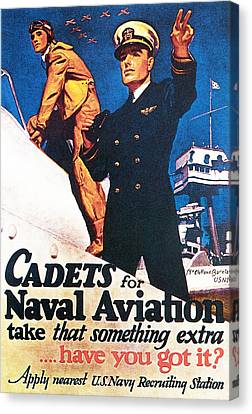 Cadets For Naval Aviation Take That Canvas Print by McClelland Barclay