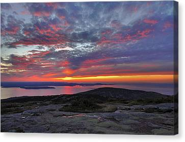 Down East Canvas Print featuring the photograph Cadillac Mountain Sunrise 2 by Stephen  Vecchiotti