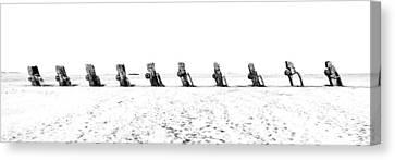 Cadillac Ranch Whiteout 001 Bw Canvas Print by Lance Vaughn