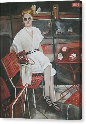 Cafe Budapest Canvas Print by Vasiliki Yiakatou