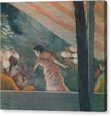 Cafe Concert At The Ambassadeurs Canvas Print by Edgar Degas
