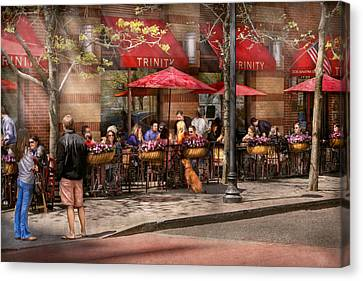 Cafe - Hoboken Nj - Cafe Trinity  Canvas Print by Mike Savad