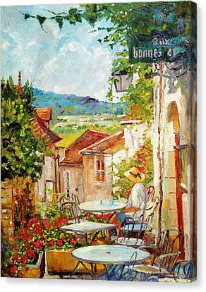 Cafe Provence Morning Canvas Print by David Lloyd Glover